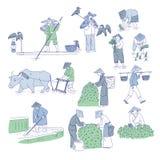 Chinesische Landwirte und Fischer in den traditionellen Kostümen Vektorlinie Kunstsatzleute-Betriebsreis, Tee anbauen und zu fisc stock abbildung