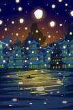 Chinesische Laterne, die in nächtlichen Himmel schwimmt Stockbilder