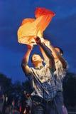 Chinesische Laterne nachts lizenzfreies stockbild