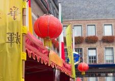 Chinesische Laternen in den Straßen von Dusseldorf, Deutschland Stockfotos
