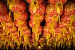 Chinesische Laternendekoration am chinesischen Tempel Stockbild