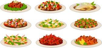 Chinesische Lebensmittelteller lizenzfreie abbildung