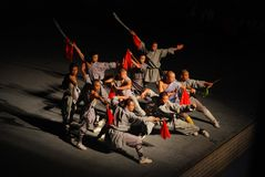 Chinesische Mönchshow Kongfu bei Shaolin Lizenzfreie Stockfotografie