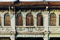 Chinesische malaysische Kolonialarchitektur in alter Stadt Malaysia Penangs stockfoto