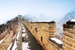 Chinesische Mauer im Schnee Stockbild