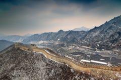 Chinesische Mauer im Schnee Lizenzfreie Stockbilder