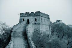 Chinesische Mauer in Schwarzweiss Stockbild