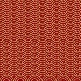 Chinesische nahtlose Goldwelle auf rotem Hintergrund Passend für Geschenkpapier lizenzfreie abbildung