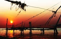 Chinesische Netze am Sonnenuntergang Stockfotografie