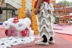 Chinesische neue Jastimme Penangs Malaysia, das Löwe danse Stockfotografie
