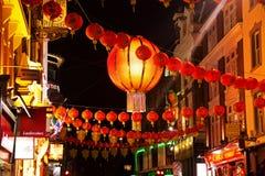 CHINESISCHE NEUES JAHR-DEKORATION IN DER CHINA-STADT, LONDON Stockbilder