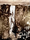Chinesische oder japanische Tintenmalerei einer Wasserfalllandschaft stock abbildung