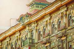 Chinesische Pagode - Tee-Haus auf Myasnitskaya-Straße in Moskau Fragment der Fassade stockfotos