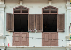 Chinesische peranakan Häuser in Jonker Straße Lizenzfreies Stockfoto