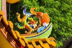 Chinesische Religion, Daikin-Ofen, Maskottchen-Steinkarpfen stockfoto