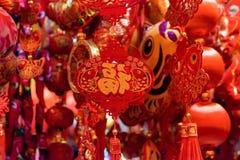 Chinesische rote Dekorationen Stockfoto
