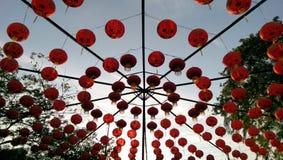 Chinesische rote Laternen Stockbild