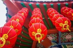 Chinesische rote Laternen verziert Thean Hou Tempel malaysia lizenzfreie stockfotografie