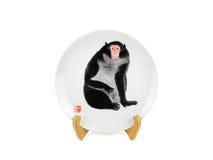 Chinesische Servierplatte mit Bild des Affen auf weißem Hintergrund Lizenzfreie Stockfotos