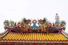 Chinesische Skulptur gemacht vom Stein verziert innerhalb des Schreinbereichs Lizenzfreies Stockbild
