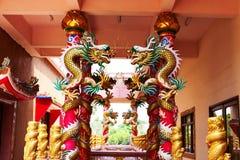 Chinesische Skulptur gemacht vom Stein verziert innerhalb des Schreinbereichs Stockfotografie