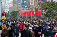 Chinesische Straße Käufermenschenmenge Shanghais Nanjing Lizenzfreie Stockfotografie