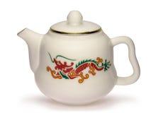 Chinesische Teekanne mit rotem Drachen Stockfotos