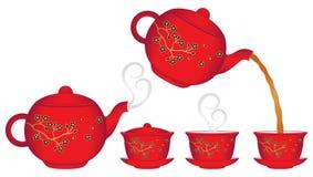 Chinesische Teekanne- und Teacupansammlung Stockfoto