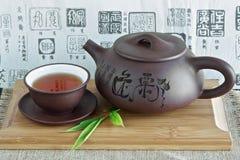 Chinesische Teekanne und Tee Stockfoto
