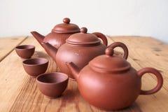 Chinesische Teekanne und Teetasse Stockfotografie