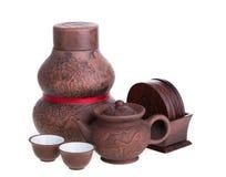 Chinesische Teekanne und Teetassen Stockbild