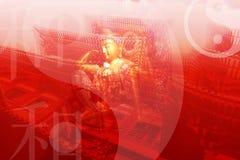 Chinesische Tempel-Auszugs-Hintergrund-Tapete Lizenzfreie Stockfotografie