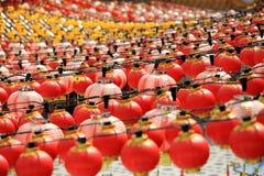 Chinesische Tempel-Laternen Stockfoto