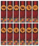 Chinesische Tierkreis-Bookmarks eingestellt Stockfotos