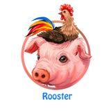 Chinesische Tierkreise des Hahns und des Schweins und Maskottchen, digitale Kunst der asiatischen Kultur Plakat mit Haustieren, H stock abbildung