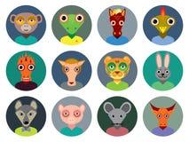 Chinesische Tierkreissammlung, Satz Tiere stellt Kreisikonen herein gegenüber Stockfotografie