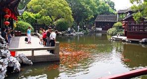 Chinesische Touristen, die Karpfen in einem traditionellen Garten, China einziehen stockbilder