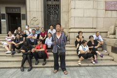 Chinesische Touristen in Shanghai, China Lizenzfreies Stockbild