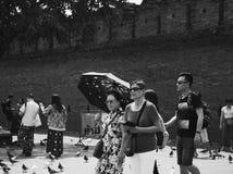 Chinesische Touristen an Thapae-Tor lizenzfreies stockbild