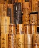 Chinesische traditionelle Bambusbelege Stockfoto