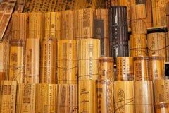 Chinesische traditionelle Bambusbelege Stockbilder