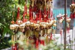 Chinesische traditionelle Dekoration bei Wong Tai Sin Temple lizenzfreie stockfotos