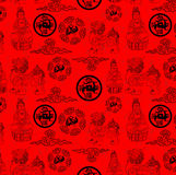 Chinesische traditionelle Religions-Reihentapete Stockbild