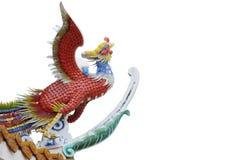 Chinesische Vogelstatue getrennt auf Weiß Stockfoto