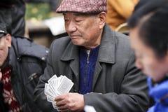 Chinesischer alter Mann mit Barett lizenzfreies stockbild