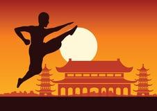 Chinesischer boxender berühmter Sport Kung Fu-Kampfkunst, Mönch Train zu FI stock abbildung