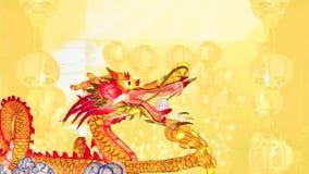 Chinesischer Drache des neuen Jahres mit Laternen stockfotografie
