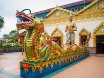 Chinesischer Drache des thailändischen Drachen am allgemeinen Tempel, der mit Geld gespendet von den Leuten zum keinem Mietkünstl Stockbilder