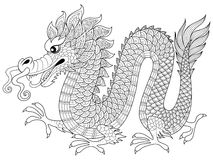 Chinesischer Drache in zentangle Art Erwachsene antistress Farbtonseite Lizenzfreies Stockbild