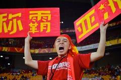 Chinesischer Fußball-Anhänger in Australien Stockfotografie